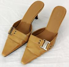 Heels Shoes Apt 9 Womens Sz 7.5 Med Camel Beige Leather Buckle Slides Slip On