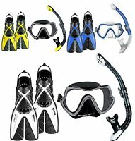 Snorkel Set Package - Silicone Mask - Dry Snorkel - Split Fins - TOP QUALITY SET