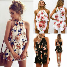 UK Womens 2Pcs Co-ord Set Crop Top & Shorts Cover UP Floral Summer Mini Jumpsuit