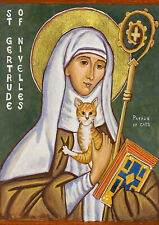 St Gertrude of Nivelles. Patron Saint of Cats.  Fine  A4 Canvas for Sale from UK