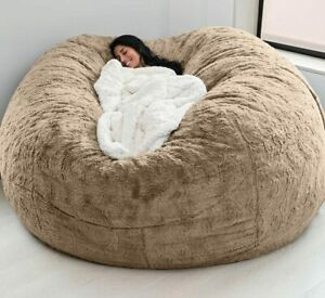 Microsuede Foam Giant Bean Bag Memory Living Room Lazy Sofa Chair Soft Cover 7ft