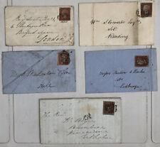 5 Victorian Penny Red Letter/Envelopes 1850s