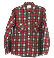 Vintage Mens Brookdale Red & Black Shadow Plaid Flannel Shirt NWOT 1960s Cotton