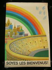 """Original 1980 Jeux Olympiques de Moscou """"Soyes les bienvenus!"""" Rainbow Poster"""