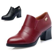 Spitz Damenschuhe Mid Top Boots Kunstleder Falten Pumps Blockabsatz Formell 42 L
