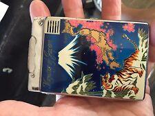 vintage MEMORY OF JAPAN cigarette case/lighter combo,colorful Mt Fuji souvenir