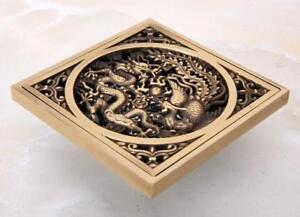 Antique Brass Art Carved Bathroom Square Floor Drain Waste Grate Drain Phr043