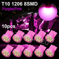 10pcs T10 Pink Wedge 3020 8-SMD Interior LED Car Backup Light Bulbs W5W 1206 192