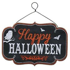 "Halloween Chalkboard Style ""Happy Halloween"" Hanging Sign - Owl & Bats"