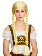 Ladies Long Plaited Pigtails Wig Bavarian Oktoberfest Schoolgirl Fancy Dress New