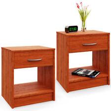 2x Comodini con cassetto in color marrone effetto ciliegio mobili stanza camera