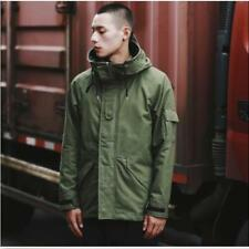 Mens Hooded Parka Long Coat Jacket Combat Military Army Outwear Green Asia 2XL