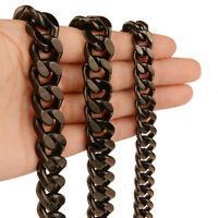 9/11/13/15mm Men Hip Hop Black Stainless Steel Curb Link Chain Necklace Bracelet