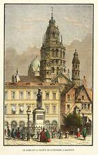 MAINZ - GUTENBERG-DENKMAL MIT DOM - Durand - kolorierter Holzstich 1865