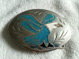 Native American Indian Inlaid Turquoise Eagle Western Belt Buckle