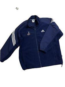 RARE Vintage Adidas Tottenham Hotspur Navy Blue Fleece Jacket Size 44-46 XL