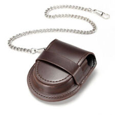 Classical Vintage Pocket Watch Holder Box Fob Pouch Bag With Silver Color Chain