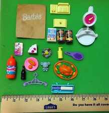 VINTAGE BARBIE DOLL HOUSE FOOD LOT MINIATURES GROCERIES BAG CAN GOODS ACCESSORY