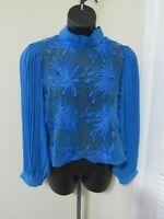 Women's Plus Size Blue Floral Sheer Blouse Shirt Top Ft Inc Size 1X-NWT