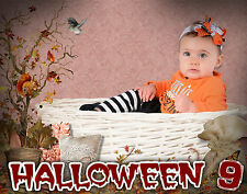 H9 Halloween Fall Autumn Digital Backgrounds Backdrops Children Holiday Photo