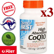 3 x Doctor's Best High Absorption CoQ10 with BioPerine 100 mg 120 Vegan Softgels