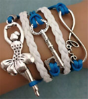 NEW Infinity love ballet girl key Friendship Leather Charm Bracelet Silver