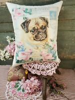 SHABBY VICTORIAN ANTIQUE VINTAGE STYLE VALENTINE PUG DOG FRENCH MAIL POST PILLOW