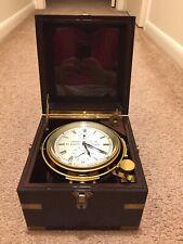 Vtg Thomas Mercer Marine Chronometer w/ Box St. Albans Brass w/ Key Works Great