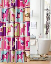 Shower Curtains For Girl Fabric Pink Pony Patchwork Squares Print Kids Bathroom