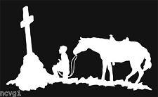 COWBOY PRAYING AT CROSS Decal Sticker horse #12