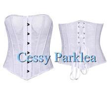 Bridal White Black Floral Lace Corset Bustier Metal Bonning Lace-up Wire Cup