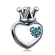 925 Silver Crown Love Blue CZ Crystal Macroporous Charm Bead For Bracelet DIY