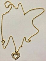 BRAND NEW 10KT YELLOW GOLD LACE HEART PENDANT, 14KT GOLD FILLED CHAIN X
