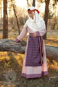 Viking costume Slavic dress Pskov with headband medieval dress, apron scarf,