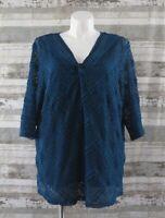 CATHERINES Dark Teal Blue Lace Top Sz 2X 22/24W Twist Front Knit Tank Lining