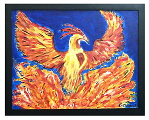 Abstract Firey Phoenix Rising Canvas Painting Framed Acrylic Art Free Shipping