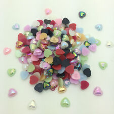 New 12mm 50pcs Heart-Shaped Pearl Bead Flat Back Scrapbook For Craft Mix Color