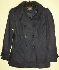 Ambiance Woman's Ladies Coat Double breasted w/ Hood Medium style# 65478 Navy