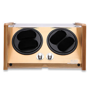 SUMILABEL Bamboo Wood Automatic Watch Winder Watch Box for 4 Automatic Watch