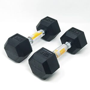 CAP 15LB Rubber Coated Hex Dumbbells Set of 2 Weights NEW Fast Free Shipping