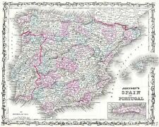 MAP ANTIQUE JOHNSON 1862 SPAIN PORTUGAL OLD LARGE REPLICA POSTER PRINT PAM0955