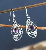 Solid 925 Sterling Silver Jewelry Amethyst Gemstone Daily Wear Gift Earring