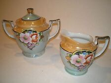 Lusterware Made in Japan Hand Painted Creamer & Sugar Bowl Lid Lustre Vintage