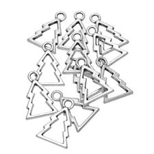 20 Anhänger Weihnachtsbaum Christbaum Antik Silber 18.5mm x13mm