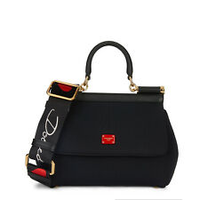 Dolce & Gabbana Shoulder Bag In Solid-Coloured Leather And Dauphine Print