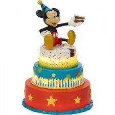 $ PRECIOUS MOMENTS Disney Figurine MICKEY MOUSE BIRTHDAY Lights Up Cake Topper