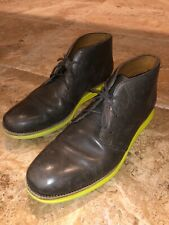 Cole Haan Grand OS Mens 12 Gray Leather Chukka Laced Ankle Boots Yellow Soles