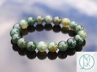 Moss Agate 10mm Natural Gemstone Bracelet 6-9'' Elasticated Healing Stone Chakra