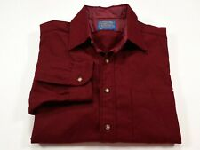 Pendleton M Men's Burgundy Red Wool Long Sleeve Button Front Shirt Medium