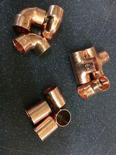 100 x 15mm RAME finale di mangimi misti accessori Pack lotto OdL idraulica fai da te tubo di rame